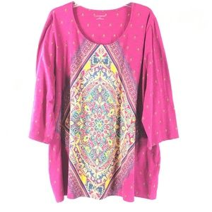 NWOT Catherines Womens Printed Tapestry Tunic Top